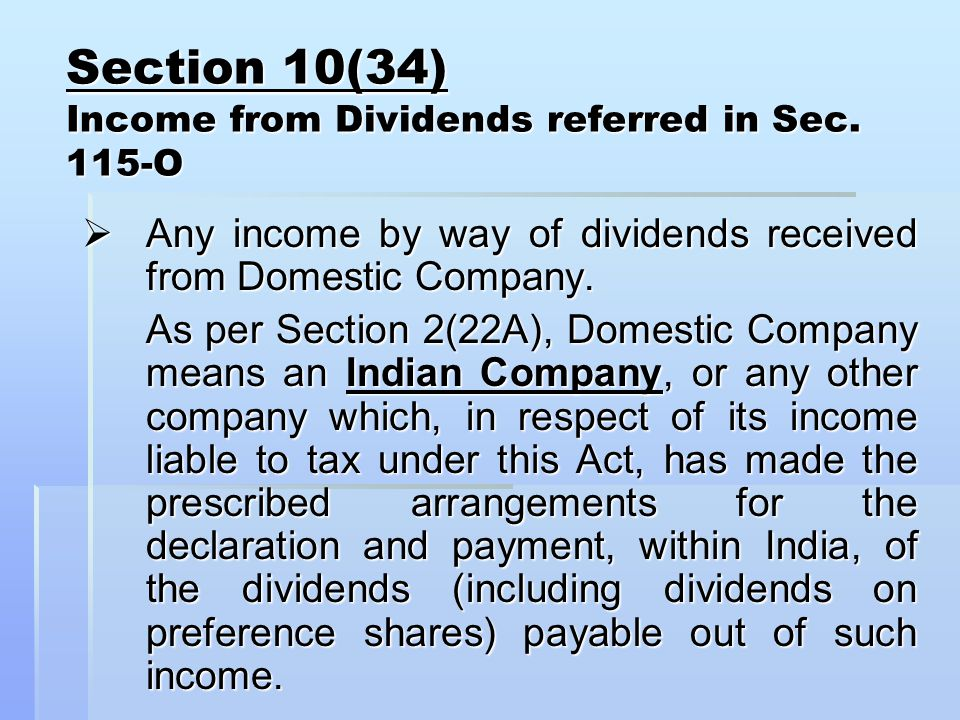 Section 10(34) Income from Dividends referred in Sec.