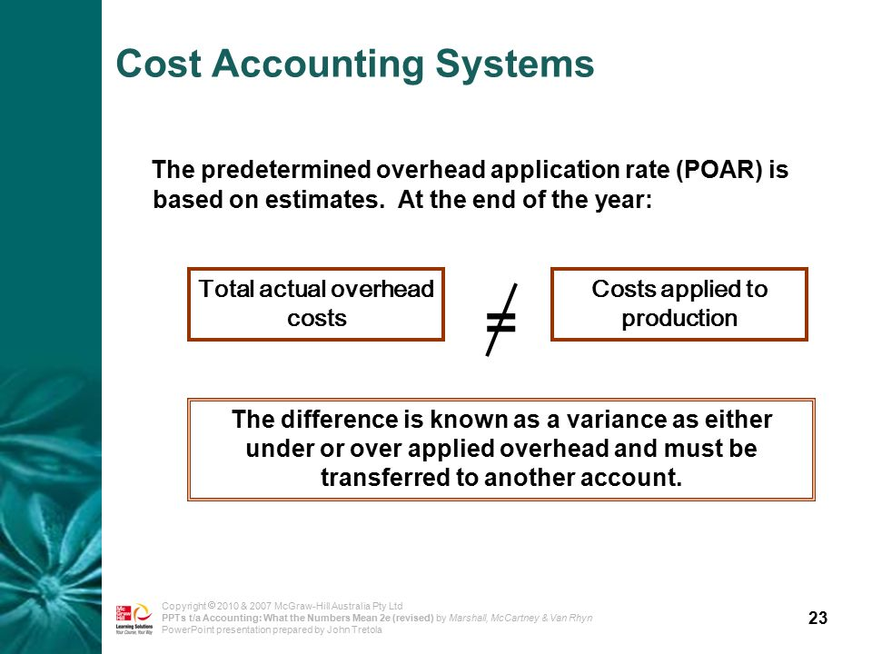 23 Copyright  2010 & 2007 McGraw-Hill Australia Pty Ltd PPTs t/a Accounting: What the Numbers Mean 2e (revised) by Marshall, McCartney & Van Rhyn PowerPoint presentation prepared by John Tretola Cost Accounting Systems The predetermined overhead application rate (POAR) is based on estimates.