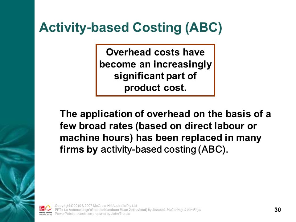30 Copyright  2010 & 2007 McGraw-Hill Australia Pty Ltd PPTs t/a Accounting: What the Numbers Mean 2e (revised) by Marshall, McCartney & Van Rhyn PowerPoint presentation prepared by John Tretola Overhead costs have become an increasingly significant part of product cost.