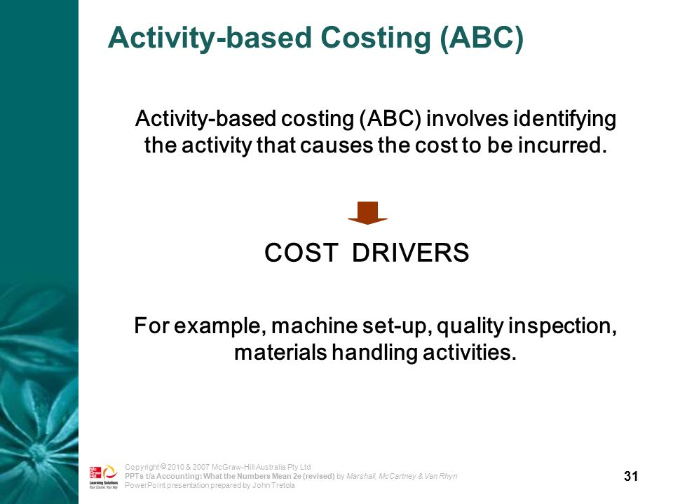 31 Copyright  2010 & 2007 McGraw-Hill Australia Pty Ltd PPTs t/a Accounting: What the Numbers Mean 2e (revised) by Marshall, McCartney & Van Rhyn PowerPoint presentation prepared by John Tretola Activity-based Costing (ABC) Activity-based costing (ABC) involves identifying the activity that causes the cost to be incurred.