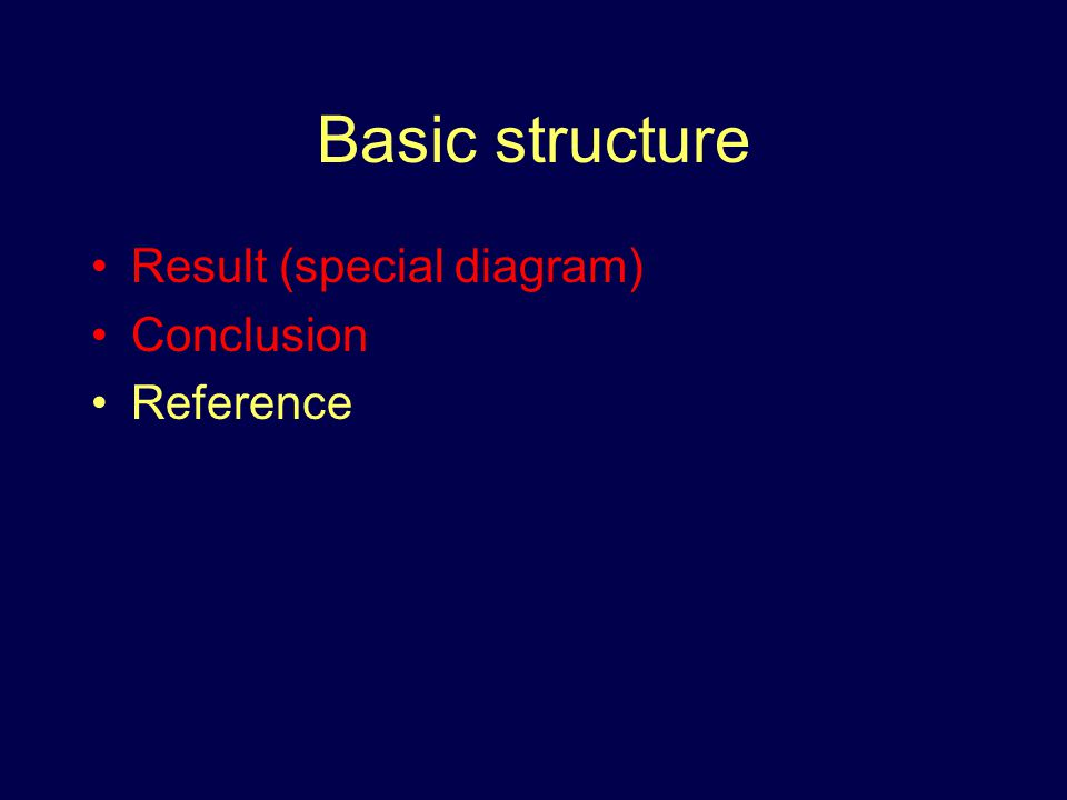 Basic structure Result (special diagram) Conclusion Reference