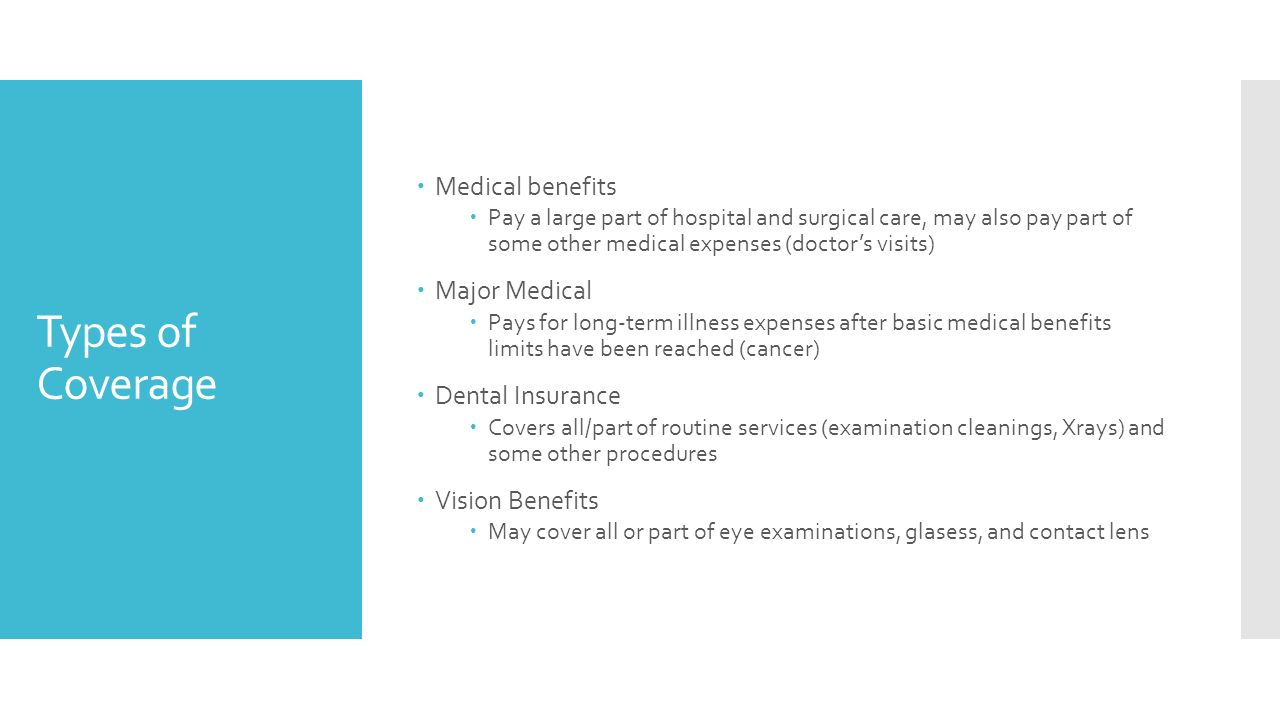 Types of Coverage  Medical benefits  Pay a large part of hospital and surgical care, may also pay part of some other medical expenses (doctor's visits)  Major Medical  Pays for long-term illness expenses after basic medical benefits limits have been reached (cancer)  Dental Insurance  Covers all/part of routine services (examination cleanings, Xrays) and some other procedures  Vision Benefits  May cover all or part of eye examinations, glasess, and contact lens