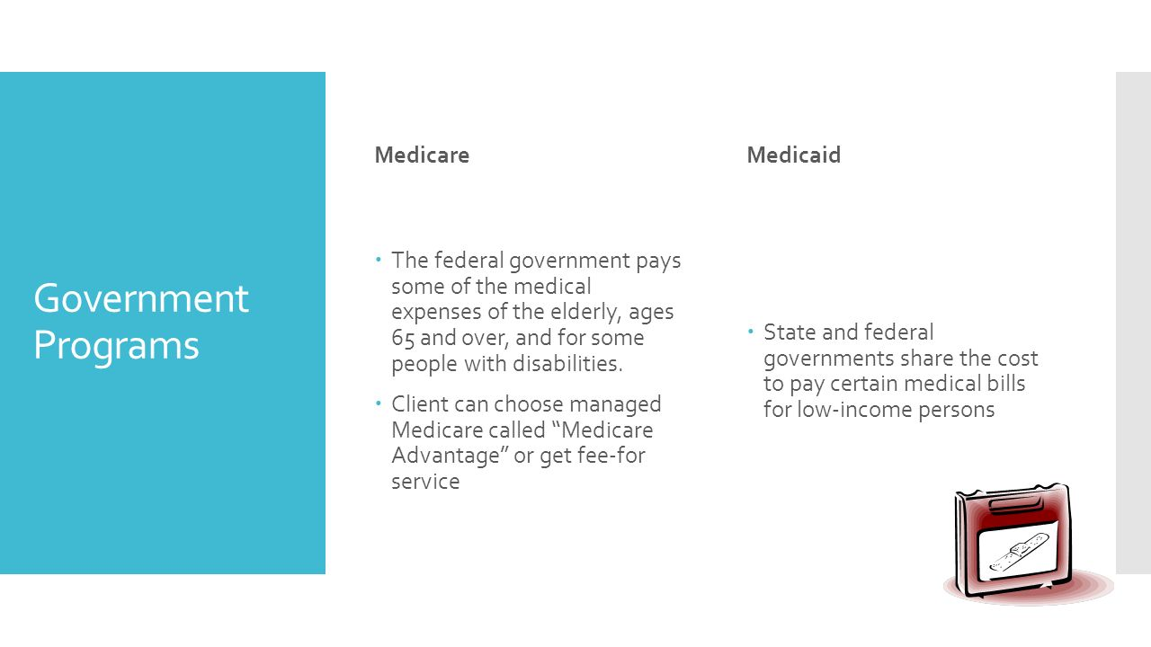Government Programs Medicare  The federal government pays some of the medical expenses of the elderly, ages 65 and over, and for some people with disabilities.