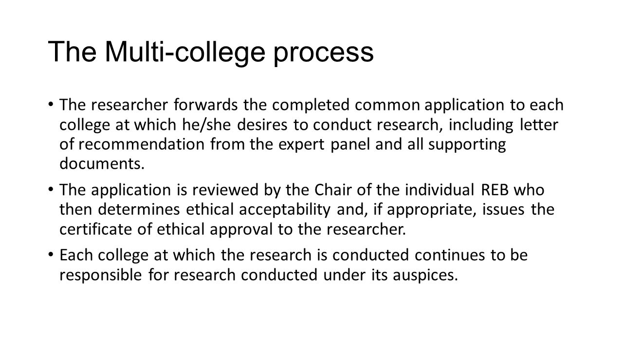 Ontario colleges multi college ethics review process on behalf of to each college at which heshe desires to conduct research including letter of recommendation from the expert panel and all supporting documents altavistaventures Gallery
