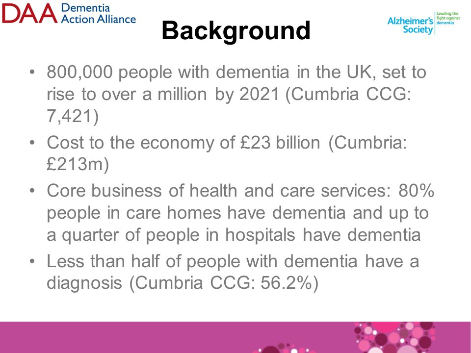 Background 800,000 people with dementia in the UK, set to rise to over a million by 2021 (Cumbria CCG: 7,421) Cost to the economy of £23 billion (Cumbria: £213m) Core business of health and care services: 80% people in care homes have dementia and up to a quarter of people in hospitals have dementia Less than half of people with dementia have a diagnosis (Cumbria CCG: 56.2%)