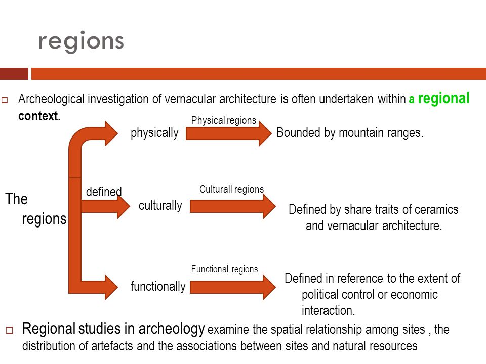 regions  Archeological investigation of vernacular architecture is often undertaken within a regional context.