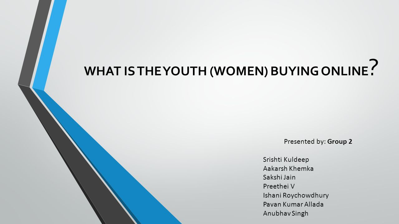 WHAT IS THE YOUTH (WOMEN) BUYING ONLINE .