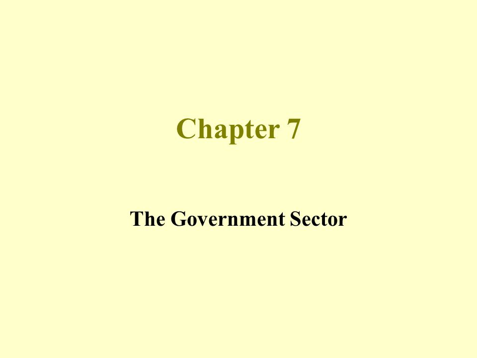 Chapter 7 The Government Sector