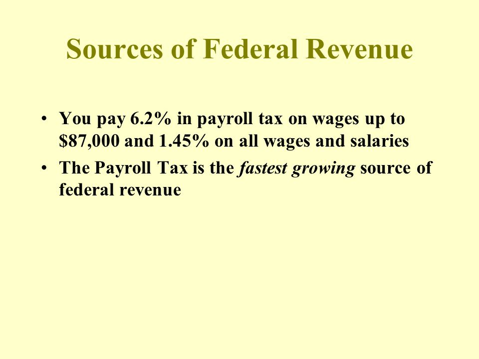 Sources of Federal Revenue You pay 6.2% in payroll tax on wages up to $87,000 and 1.45% on all wages and salaries The Payroll Tax is the fastest growing source of federal revenue