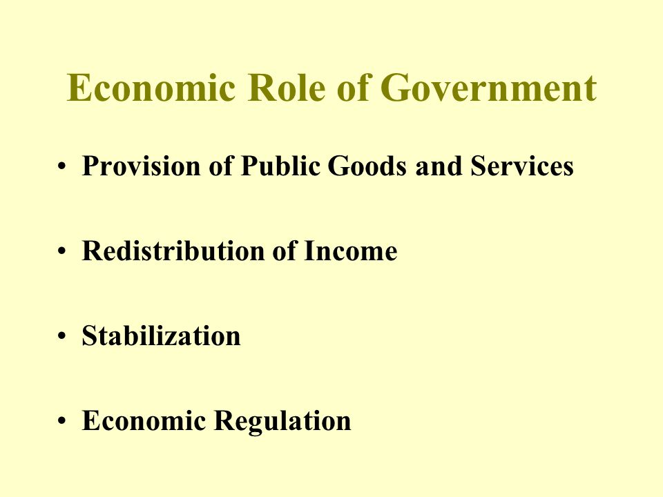 Economic Role of Government Provision of Public Goods and Services Redistribution of Income Stabilization Economic Regulation