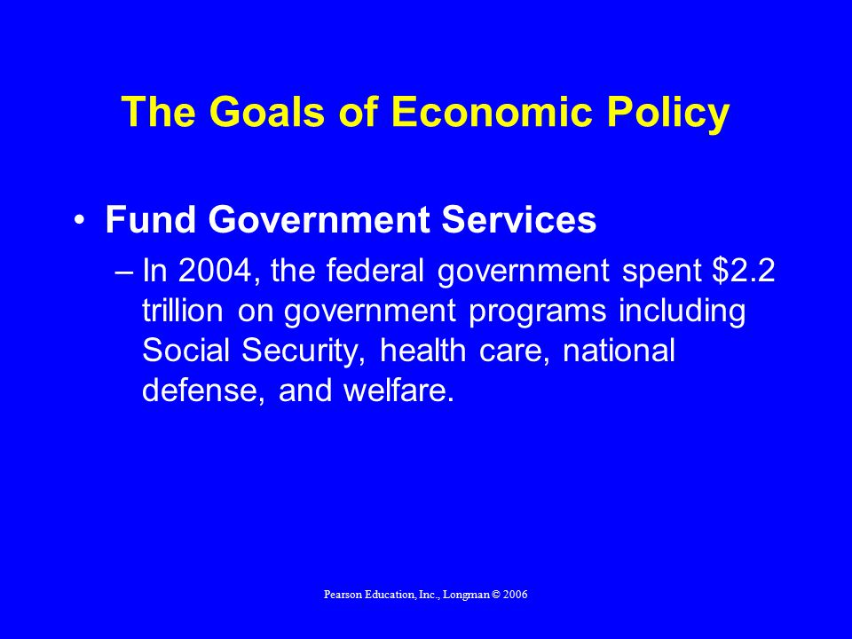 Pearson Education, Inc., Longman © 2006 The Goals of Economic Policy Fund Government Services –In 2004, the federal government spent $2.2 trillion on government programs including Social Security, health care, national defense, and welfare.