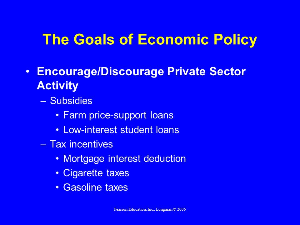 Pearson Education, Inc., Longman © 2006 The Goals of Economic Policy Encourage/Discourage Private Sector Activity –Subsidies Farm price-support loans Low-interest student loans –Tax incentives Mortgage interest deduction Cigarette taxes Gasoline taxes