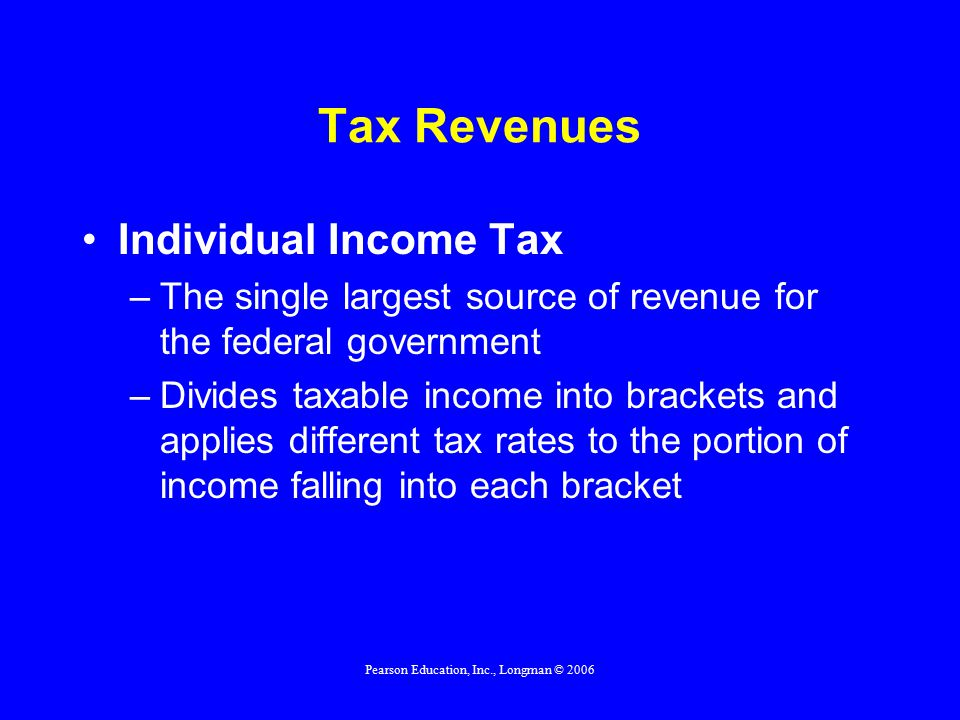 Pearson Education, Inc., Longman © 2006 Tax Revenues Individual Income Tax –The single largest source of revenue for the federal government –Divides taxable income into brackets and applies different tax rates to the portion of income falling into each bracket