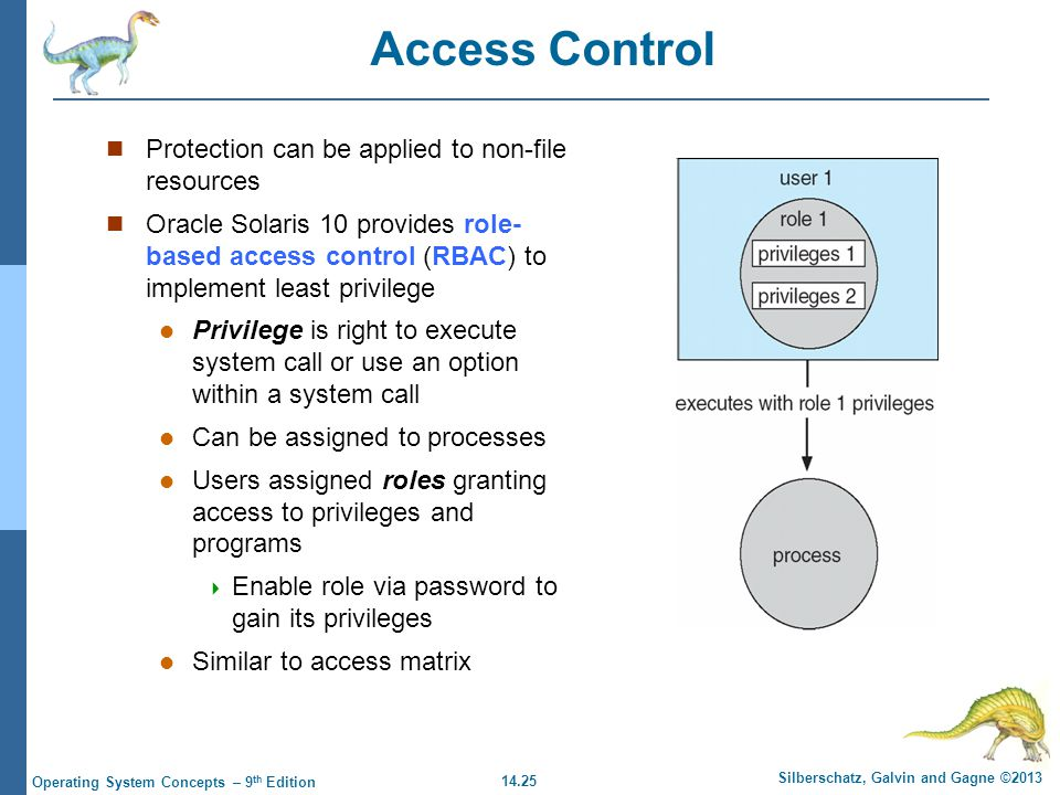 14.25 Silberschatz, Galvin and Gagne ©2013 Operating System Concepts – 9 th Edition Access Control Protection can be applied to non-file resources Oracle Solaris 10 provides role- based access control (RBAC) to implement least privilege Privilege is right to execute system call or use an option within a system call Can be assigned to processes Users assigned roles granting access to privileges and programs  Enable role via password to gain its privileges Similar to access matrix