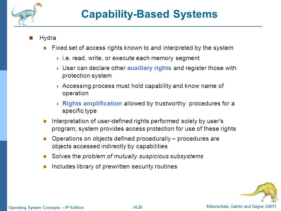 14.28 Silberschatz, Galvin and Gagne ©2013 Operating System Concepts – 9 th Edition Capability-Based Systems Hydra Fixed set of access rights known to and interpreted by the system  i.e.
