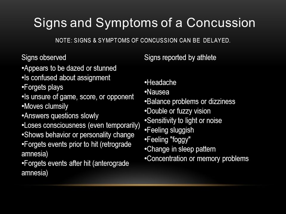 Signs and Symptoms of a Concussion NOTE: SIGNS & SYMPTOMS OF CONCUSSION CAN BE DELAYED.