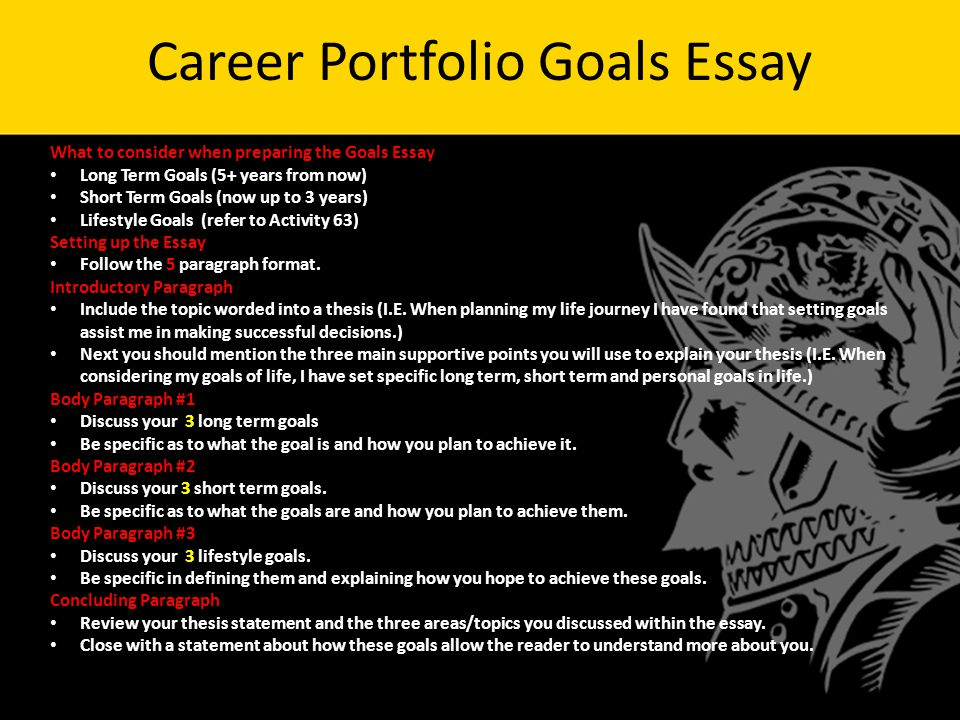 warm up goals and objectives answer in complete sentences  14 career portfolio goals essay what to consider when preparing the goals essay long term