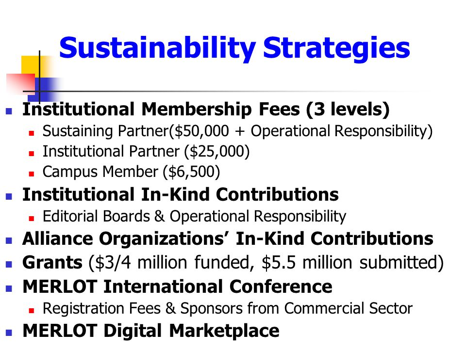 Sustainability Strategies Institutional Membership Fees (3 levels) Sustaining Partner($50,000 + Operational Responsibility) Institutional Partner ($25,000) Campus Member ($6,500) Institutional In-Kind Contributions Editorial Boards & Operational Responsibility Alliance Organizations' In-Kind Contributions Grants ($3/4 million funded, $5.5 million submitted) MERLOT International Conference Registration Fees & Sponsors from Commercial Sector MERLOT Digital Marketplace
