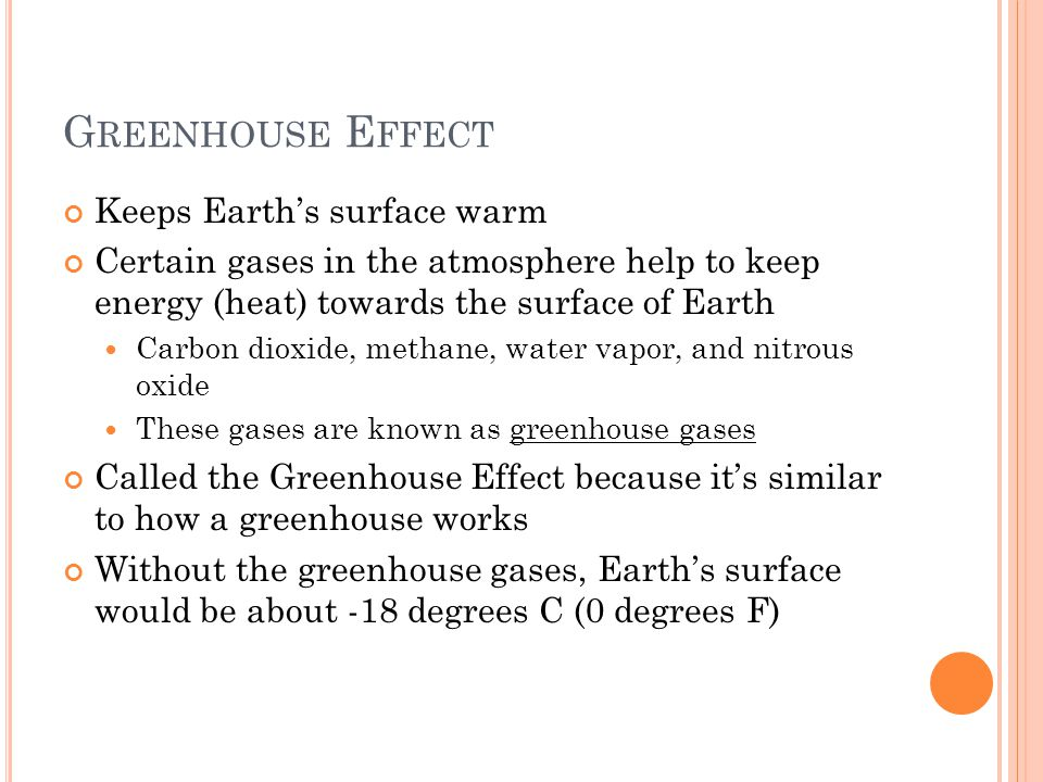 G REENHOUSE E FFECT Keeps Earth's surface warm Certain gases in the atmosphere help to keep energy (heat) towards the surface of Earth Carbon dioxide, methane, water vapor, and nitrous oxide These gases are known as greenhouse gases Called the Greenhouse Effect because it's similar to how a greenhouse works Without the greenhouse gases, Earth's surface would be about -18 degrees C (0 degrees F)