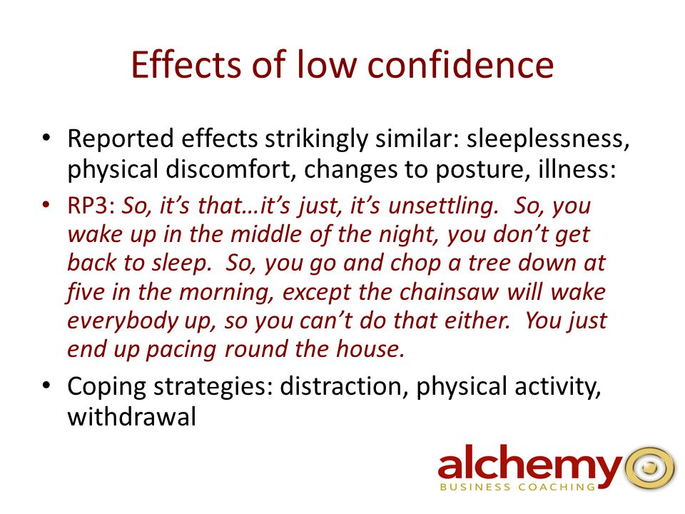 Effects of low confidence Reported effects strikingly similar: sleeplessness, physical discomfort, changes to posture, illness: RP3: So, it's that…it's just, it's unsettling.