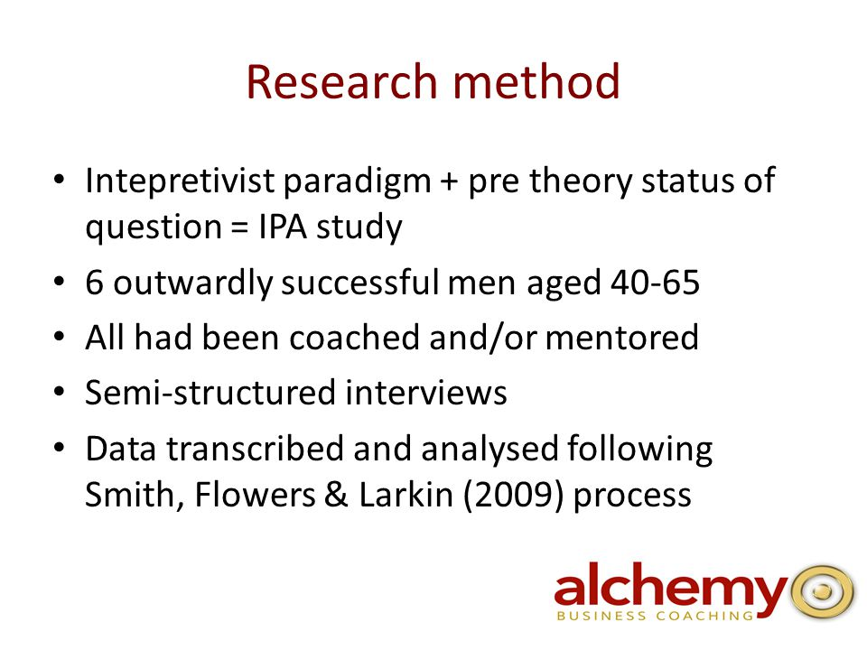 Research method Intepretivist paradigm + pre theory status of question = IPA study 6 outwardly successful men aged All had been coached and/or mentored Semi-structured interviews Data transcribed and analysed following Smith, Flowers & Larkin (2009) process