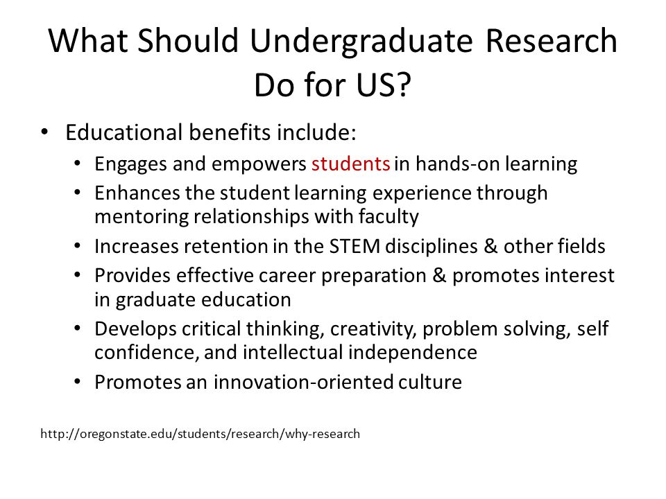 What Should Undergraduate Research Do for US.