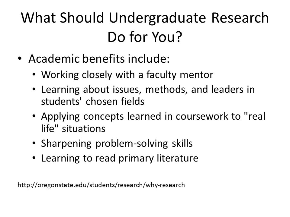 What Should Undergraduate Research Do for You.