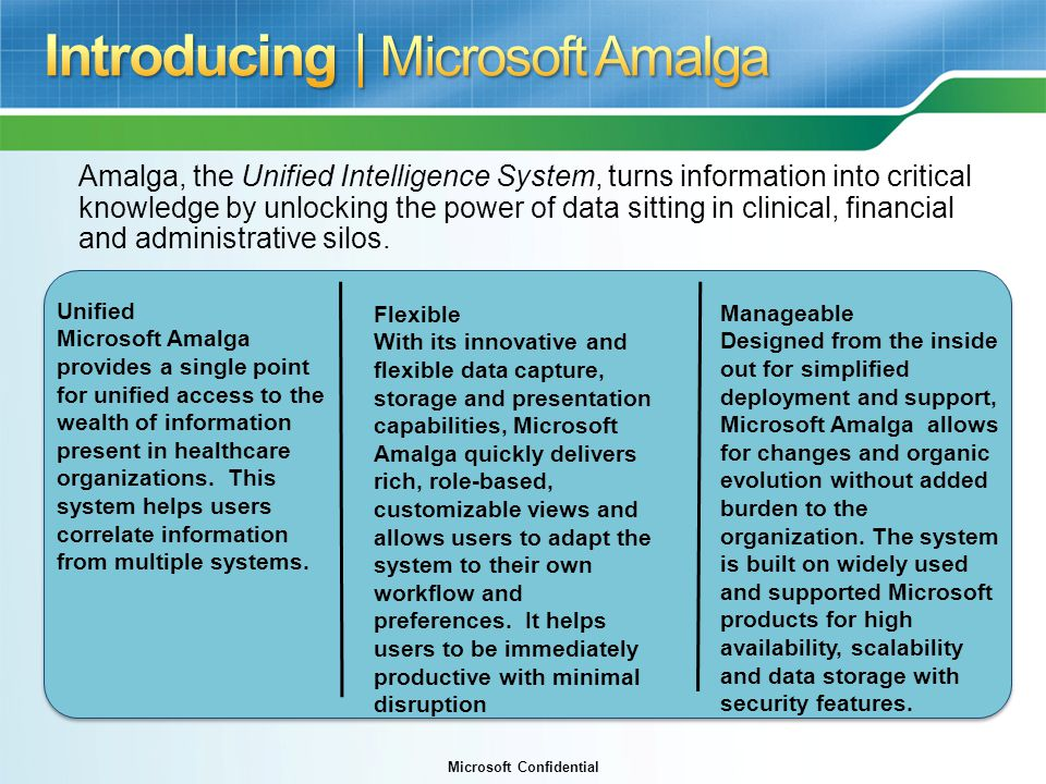 Microsoft Confidential Amalga, the Unified Intelligence System, turns information into critical knowledge by unlocking the power of data sitting in clinical, financial and administrative silos.