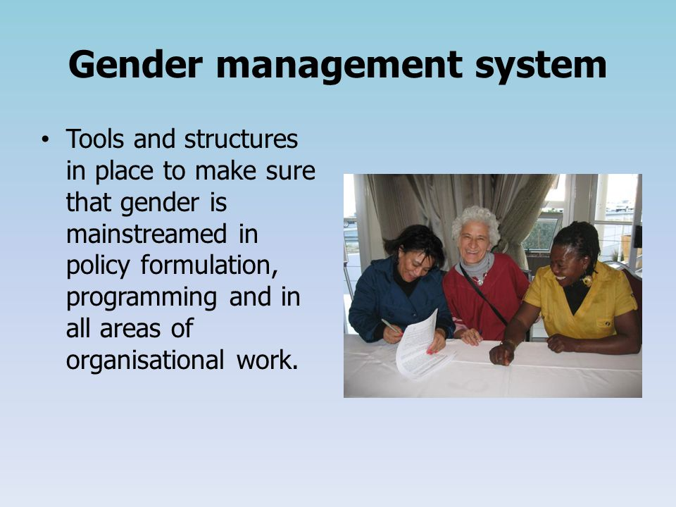 Gender management system Tools and structures in place to make sure that gender is mainstreamed in policy formulation, programming and in all areas of organisational work.