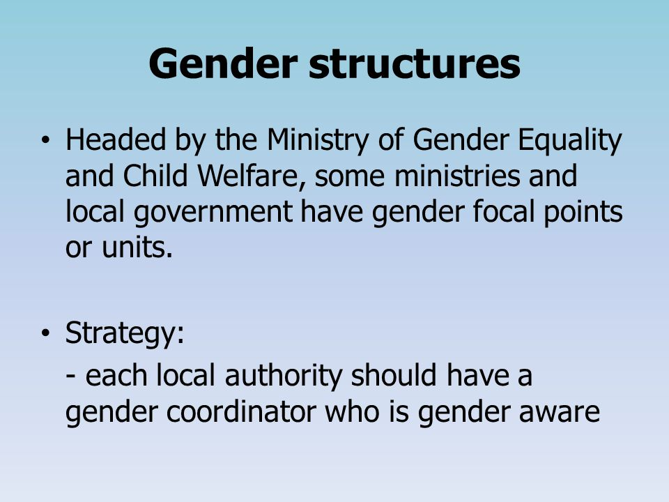 Gender structures Headed by the Ministry of Gender Equality and Child Welfare, some ministries and local government have gender focal points or units.