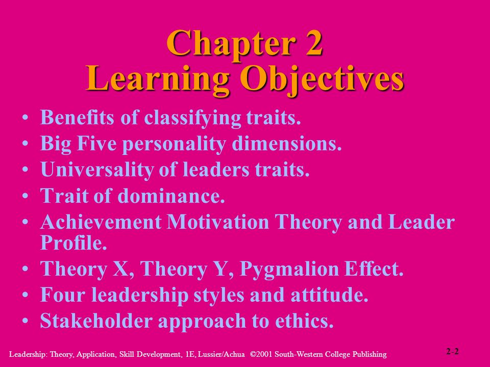 Leadership: Theory, Application, Skill Development, 1E, Lussier/Achua ©2001 South-Western College Publishing Chapter 2 Learning Objectives Benefits of
