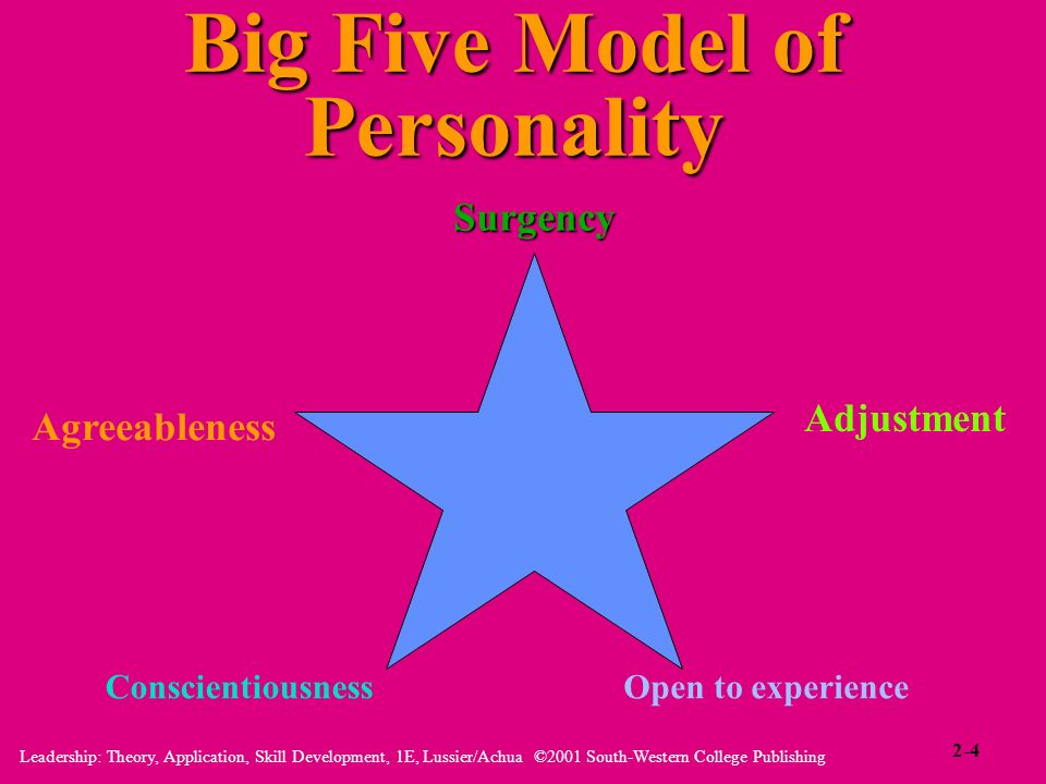 Leadership: Theory, Application, Skill Development, 1E, Lussier/Achua ©2001 South-Western College Publishing Big Five Model of Personality Surgency Ad