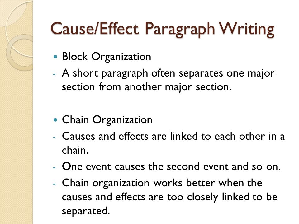 block organization cause and effect essay