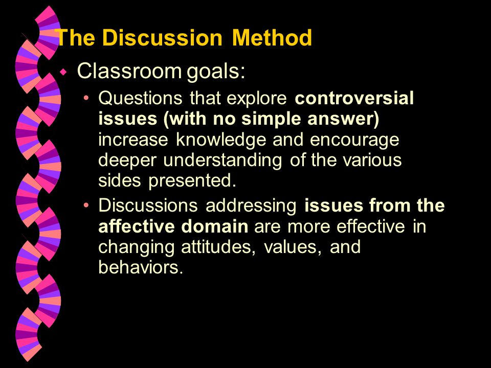 Discussion Method: Roles w A discussion leader keeps the discussion on track by stating topic, posing questions, and summarizing major points.