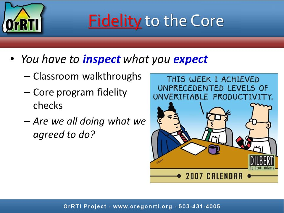 Curriculum specific fidelity checklists