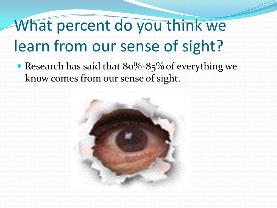 What percent do you think we learn from our sense of sight.