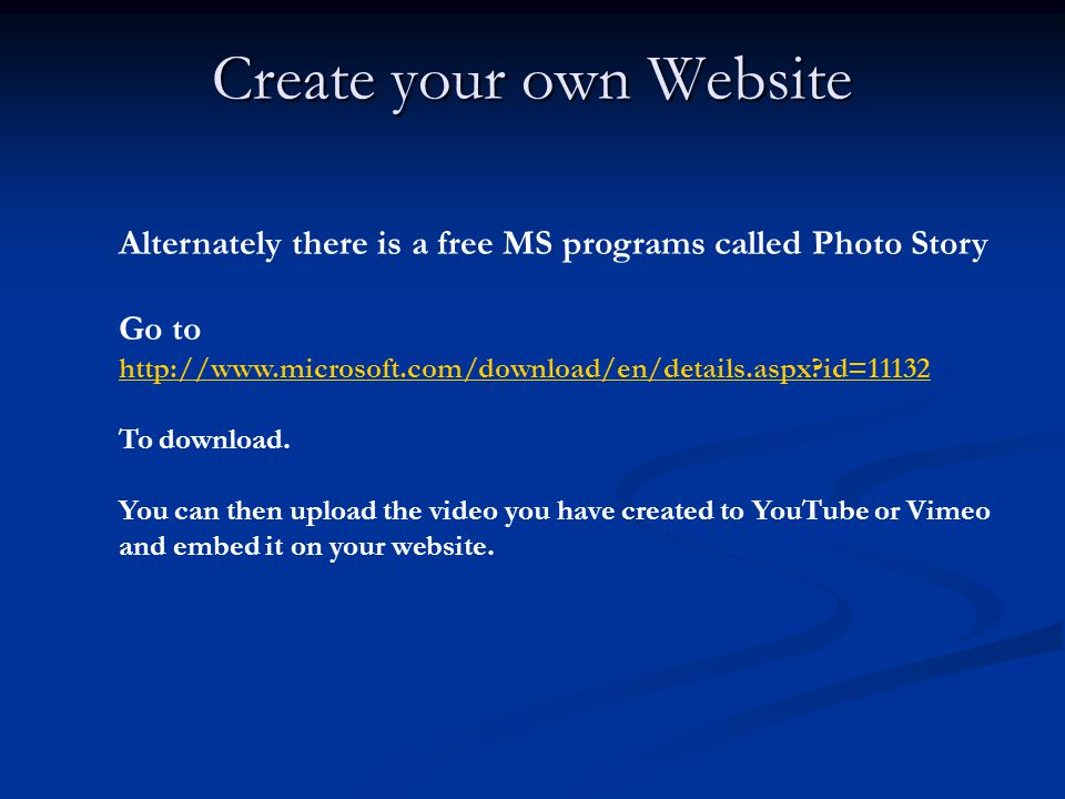 Alternately there is a free MS programs called Photo Story Go to   id= id=11132 To download.