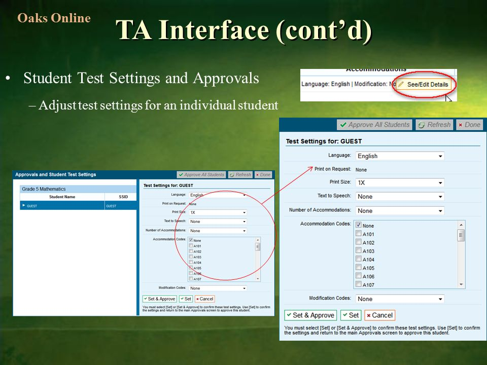 TA Interface (cont'd) Student Test Settings and Approvals –Adjust test settings for an individual student Oaks Online