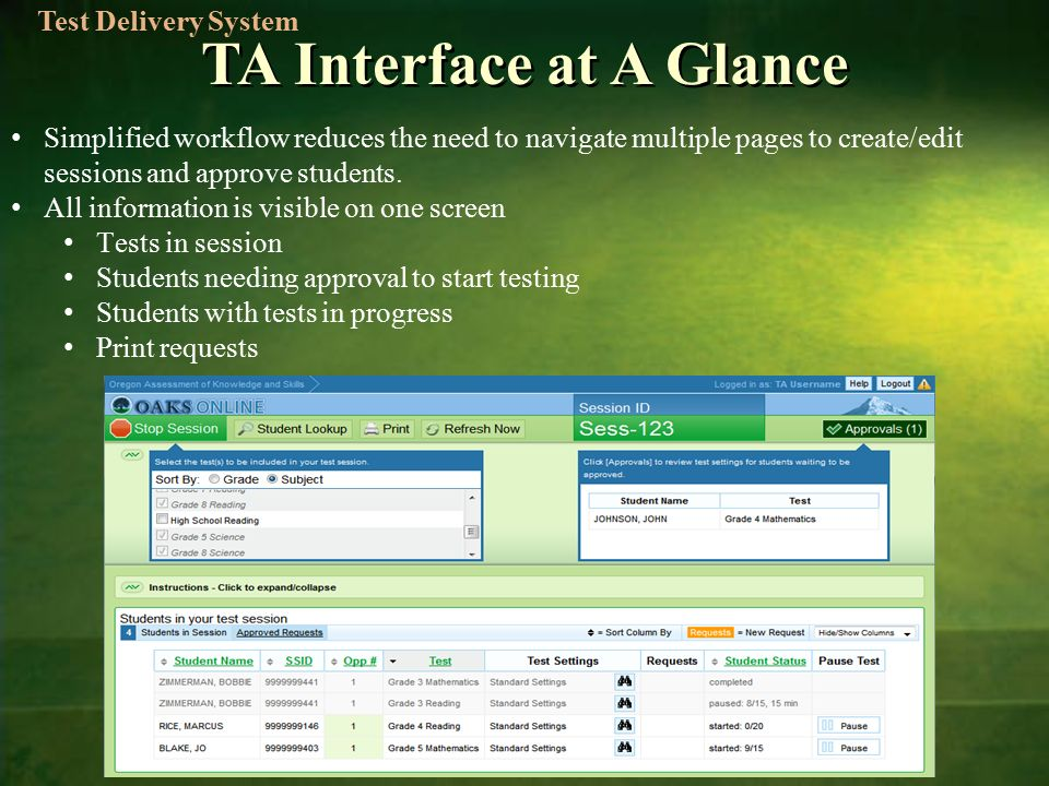TA Interface at A Glance Simplified workflow reduces the need to navigate multiple pages to create/edit sessions and approve students.