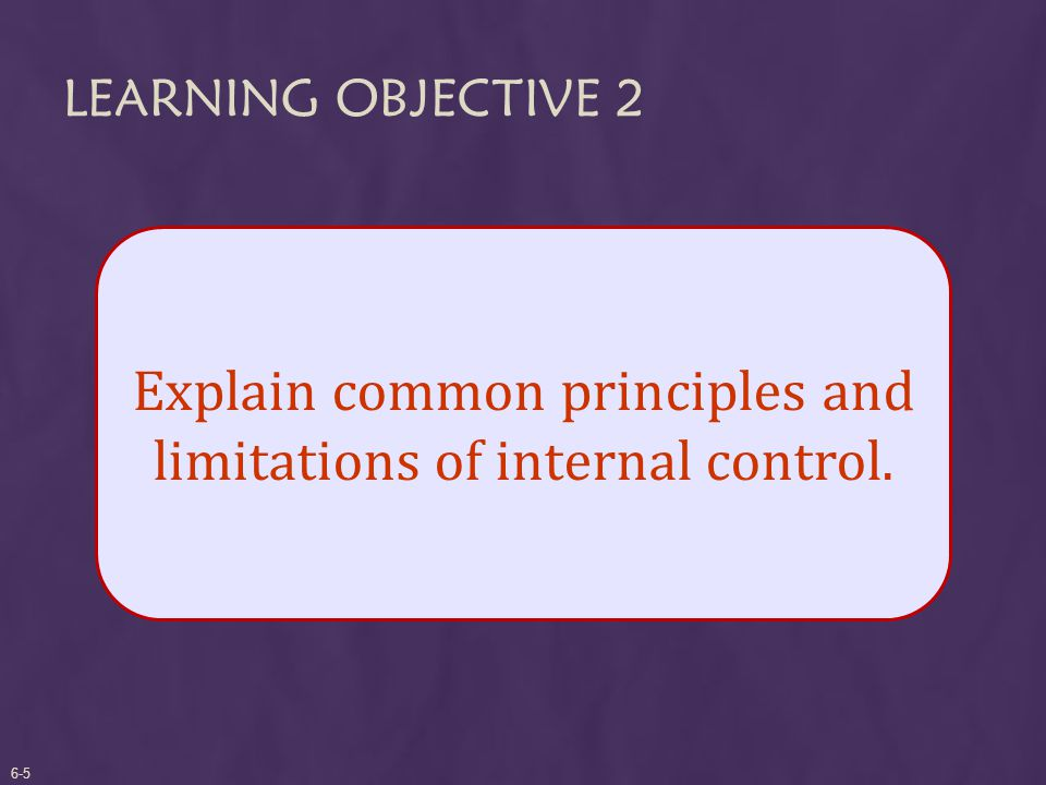 LEARNING OBJECTIVE 2 Explain common principles and limitations of internal control. 6-5