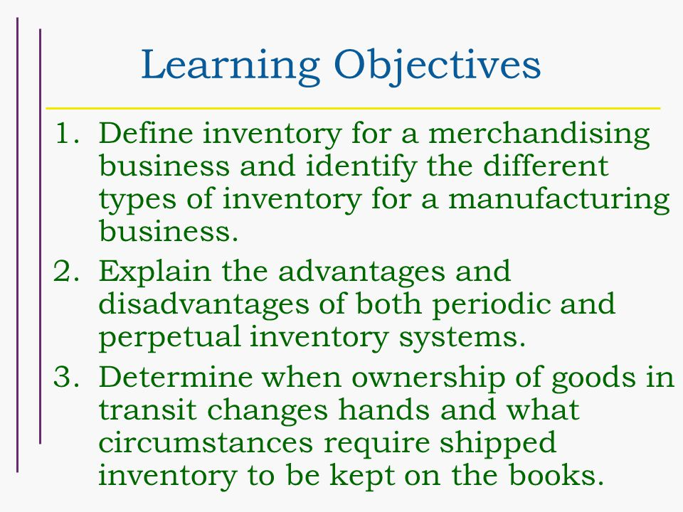 Learning Objectives 1.Define inventory for a merchandising business and identify the different types of inventory for a manufacturing business.