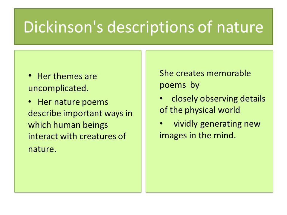 Dickinson s descriptions of nature Her themes are uncomplicated.