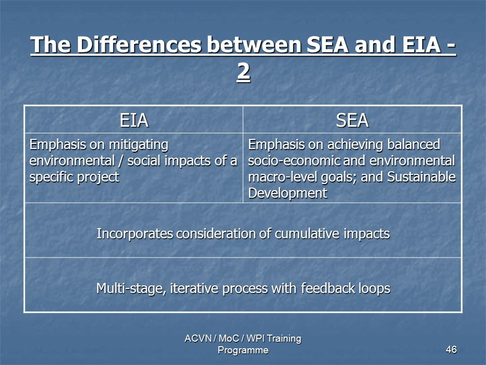 ACVN / MoC / WPI Training Programme46 The Differences between SEA and EIA - 2 EIASEA Emphasis on mitigating environmental / social impacts of a specific project Emphasis on achieving balanced socio-economic and environmental macro-level goals; and Sustainable Development Incorporates consideration of cumulative impacts Multi-stage, iterative process with feedback loops