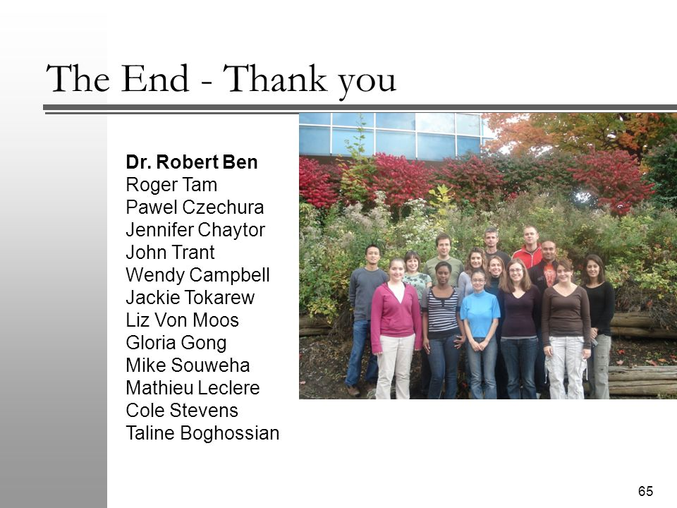 The End - Thank you 65 Dr.