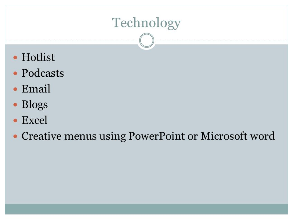 Technology Hotlist Podcasts  Blogs Excel Creative menus using PowerPoint or Microsoft word