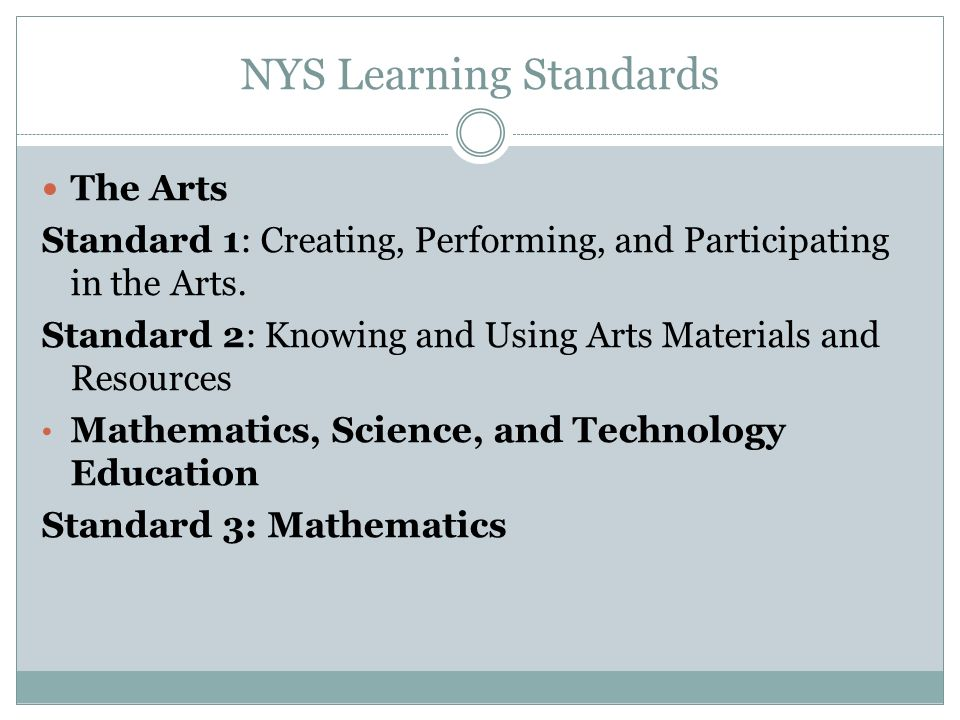 NYS Learning Standards The Arts Standard 1: Creating, Performing, and Participating in the Arts.