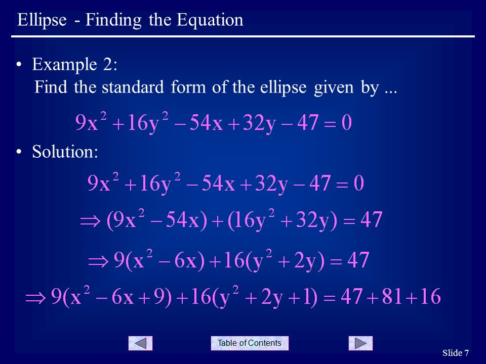 Table of Contents Slide 7 Ellipse - Finding the Equation Example 2: Find the standard form of the ellipse given by...