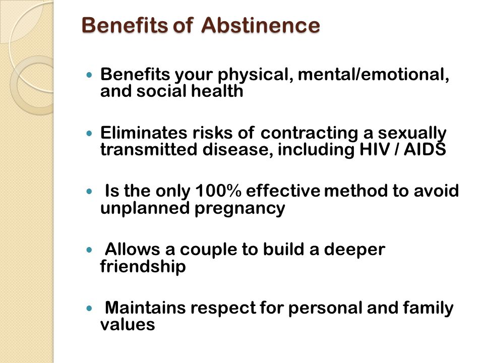 List The Health Benefits Of Remaining Sexually Abstinent