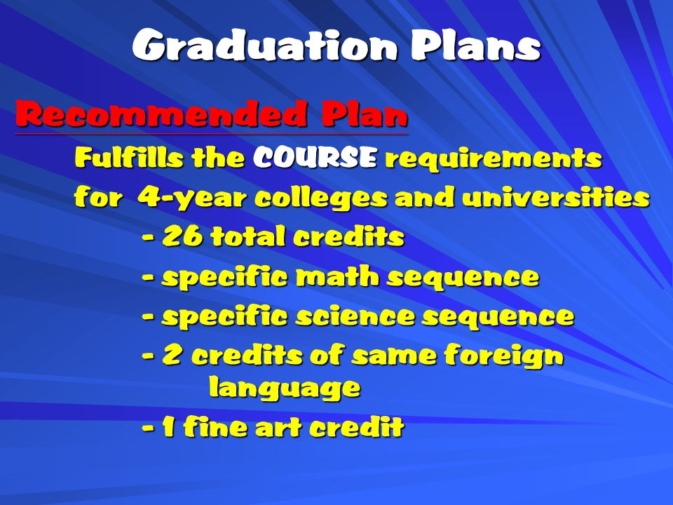 Graduation Plans Recommended Plan Recommended Plan Fulfills the COURSE requirements for 4-year colleges and universities - 26 total credits - specific math sequence - specific science sequence - 2 credits of same foreign language - 1 fine art credit
