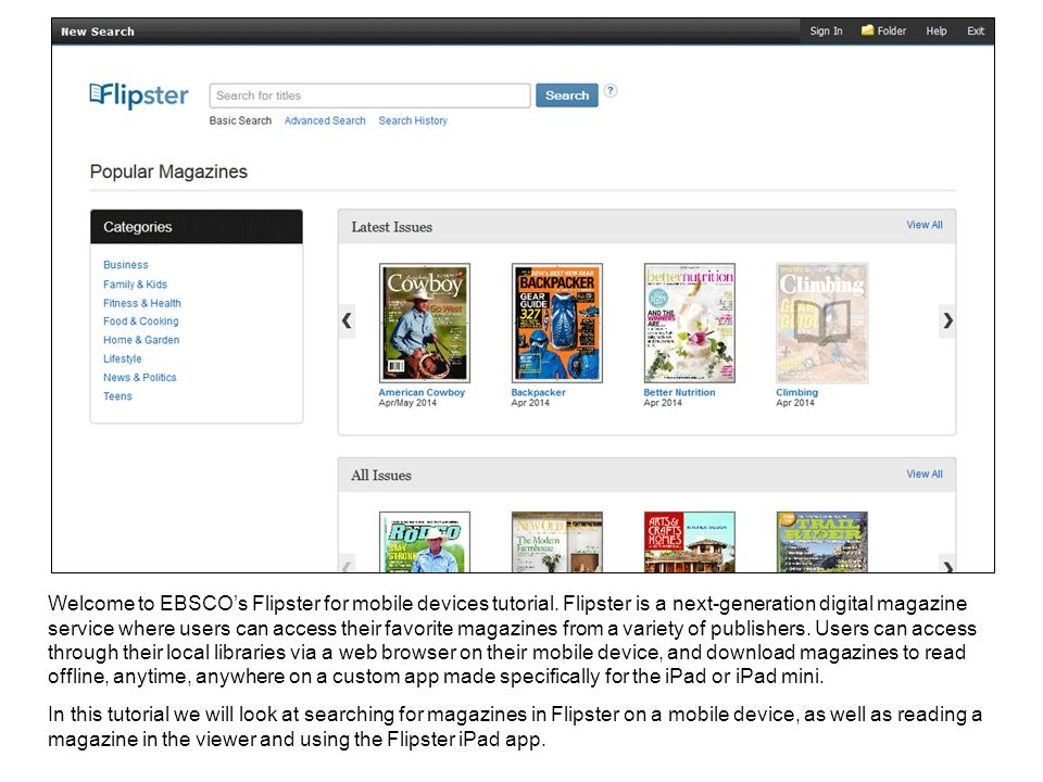 Welcome to EBSCO's Flipster for mobile devices tutorial.